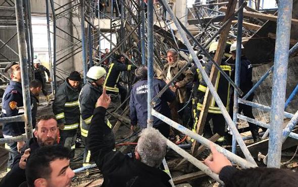 Cami inşaatınında çökme yaşandı yaralılar var
