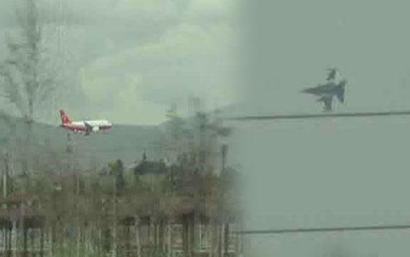 Erdoğan'ın uçağına, Konya semalarında jetler eşlik etti