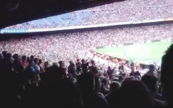 Barcelona tribününde skandal tezahürat