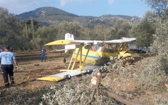 Edremit'te ilaçlama uçağı düştü