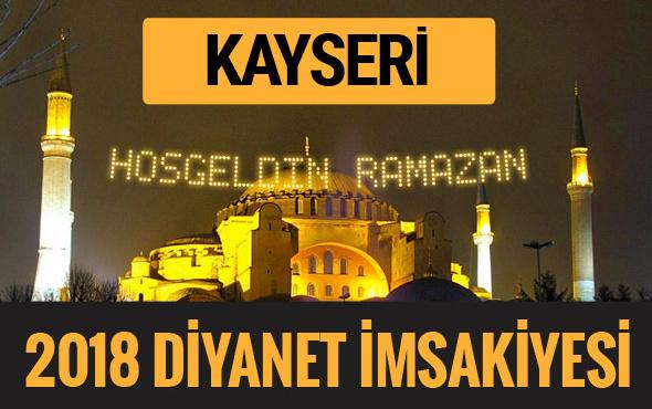 2018 İmsakiye Kayseri- Sahur imsak vakti iftar ezan saatleri