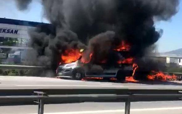 TEM'de korkutan yangın! Trafik uzun süre felç oldu