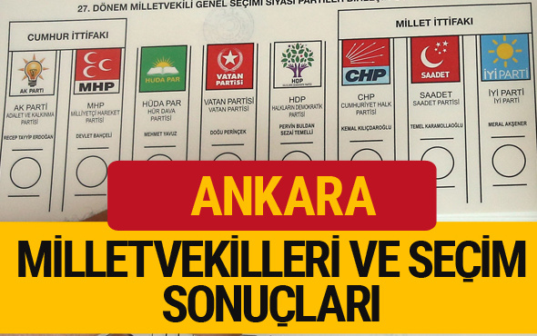 Ankara Milletvekilleri 27. dönem 2018 Ankara Seçim Sonucu