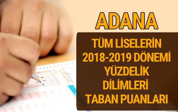 Adana Lise taban puanları 2018 -2019 nitelikli okullar LGS yüzdelik dilimleri