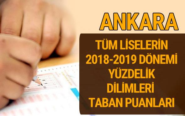 Ankara Lise taban puanları 2018 -2019 nitelikli okullar LGS yüzdelik dilimleri