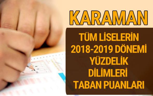 Karaman Lise taban puanları 2018 -2019 nitelikli okullar LGS yüzdelik dilimleri
