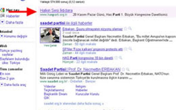 HAS Parti'nin Google uyanıklığı