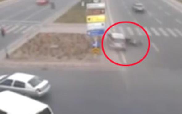 Kayseri'deki korkunç kaza kamerada