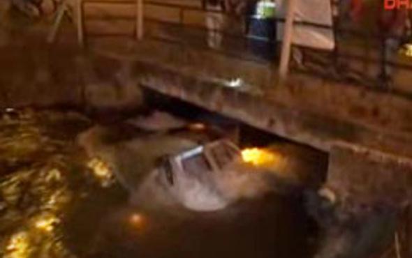 Su kanalına düşen araçtan çıktı ama