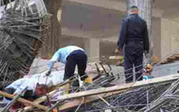 Mersinde kaçak inşaat çöktü