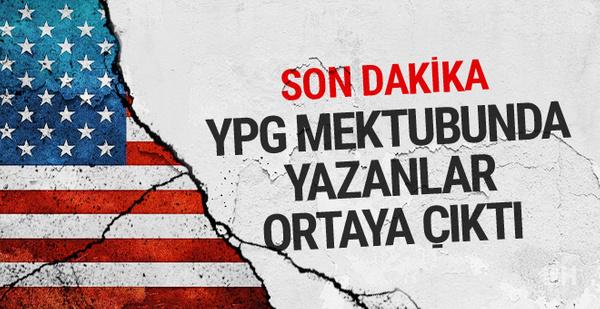 ABD'den Türkiye'ye son dakika YPG mektubu