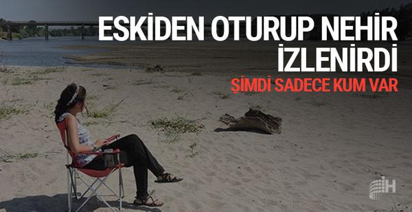 Edirne'de sıcaklar nedeniyle Tunca Nehri'nde su seviyesi düştü