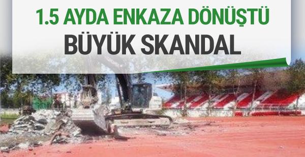Samsun'daki atletizm pisti 1,5 ayda enkaz oldu!