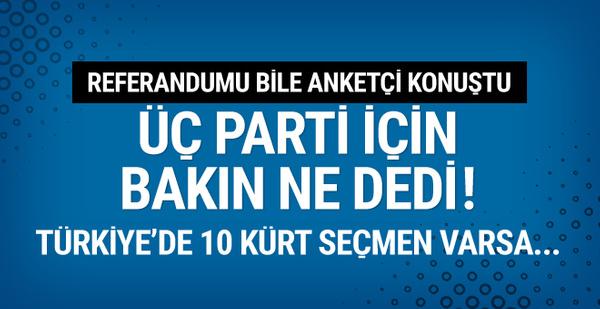 Referandumu bilen anketçi açıkladı: Türkiye'de 10 Kürt seçmen varsa