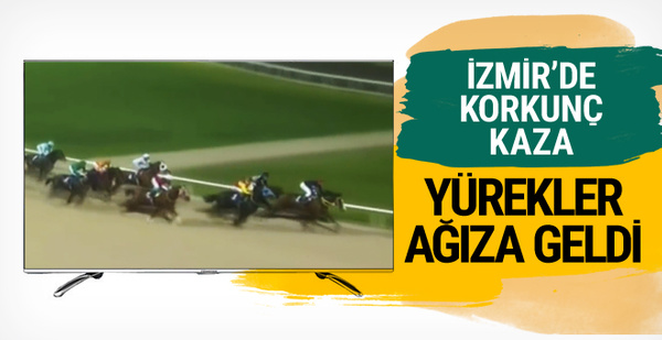 İzmir'deki at yarışında talihsiz kaza!