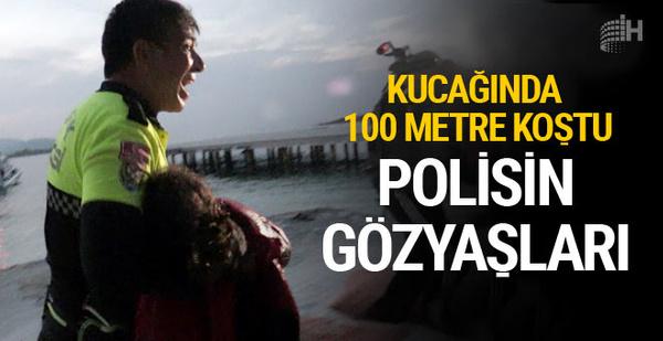 Türk polisi kurtarmak istediği göçmen kız için böyle ağladı