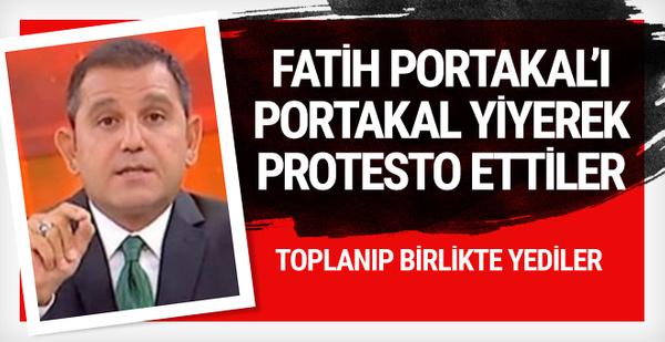Fatih Portakalı portakal yiyerek protesto ettiler