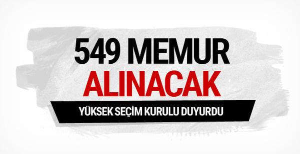 YSK duyurdu 549 memur alınacak