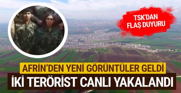 Afrin havadan görüntülendi iki terörist canlı yakalandı! Afrin'de son durum