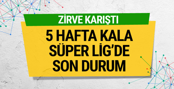 Süper Lig'de 5 hafta kala zirvede son durum
