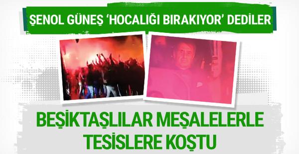 Beşiktaşlı taraftarlar takımı meşalelerle karşıladı