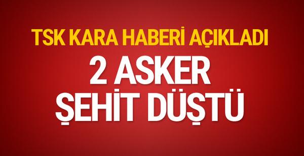 TSK kara haberi açıkladı: 2 asker şehit