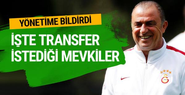 Fatih Terim'in transfer istediği 3 mevki