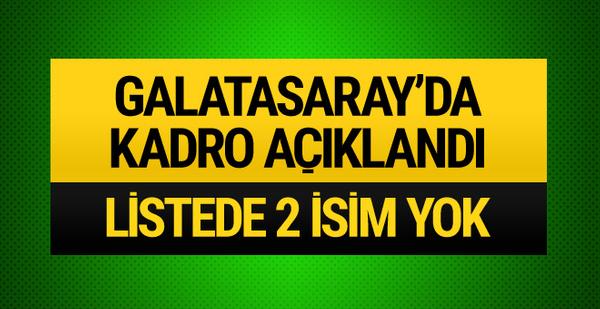 Galatasaray'da kadro açıklandı! 2 isim listede yok