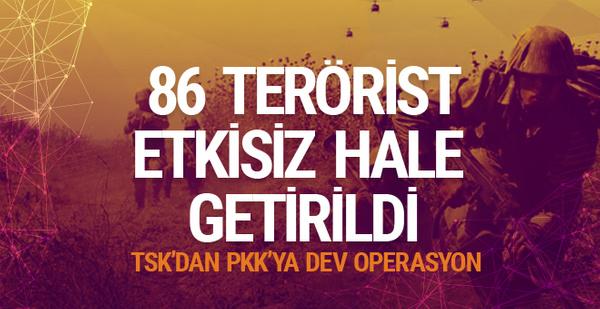 PKK'da ağır kayıp: 86 terörist öldürüldü