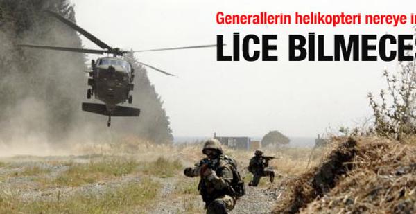 Generallerin helikopteri nereye indi?
