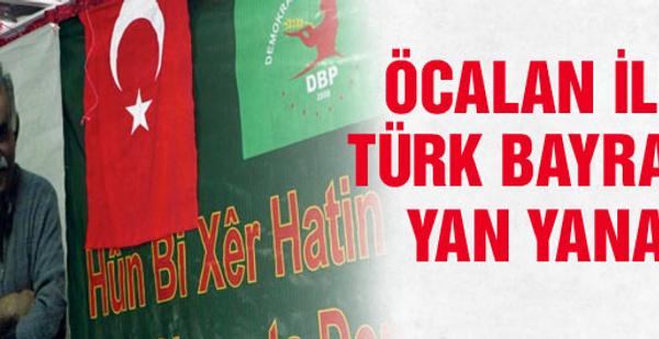 Türk bayrağı ile Öcalan fotoğrafı yan yana