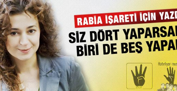 Temelkuran'dan Rabia işareti yazısı