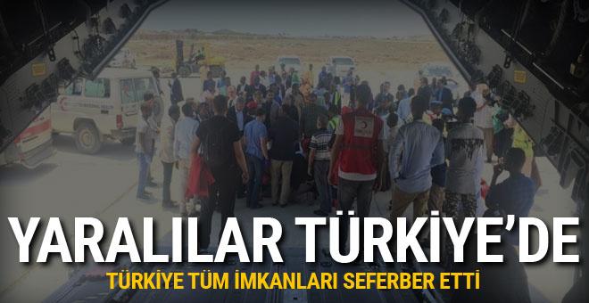 Yaralılar uçakla Türkiye'ye getirildi