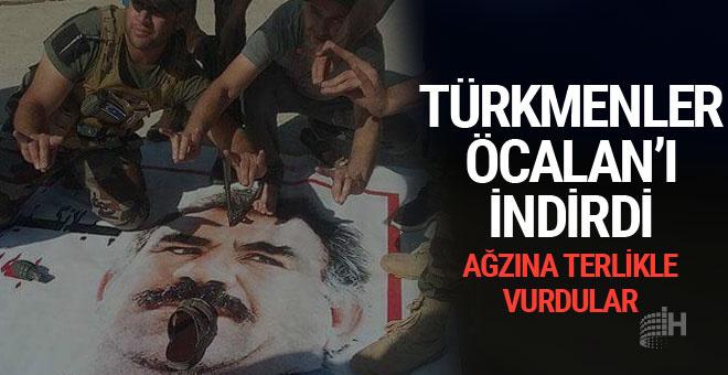 Türkmenler, PKK'nın astığı Öcalan posterlerini söktü
