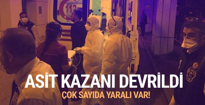 Fabrikada asit kazanı devrildi, 9 işçi yaralandı!