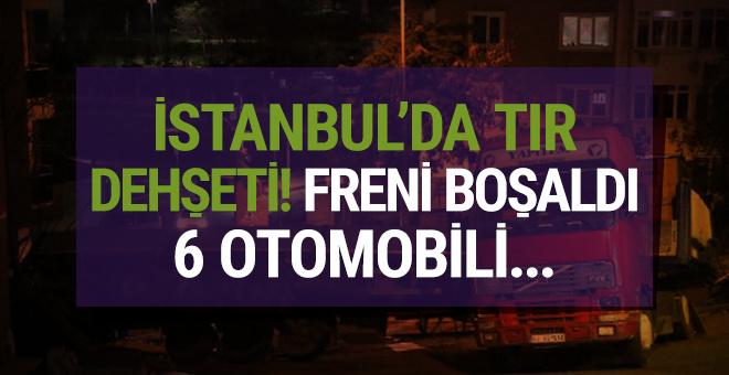 İstanbul'da TIR dehşeti! Freni boşaldı, 6 otomobili...