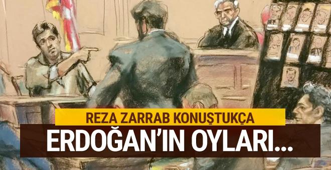 Reza Zarrab konuştukça Erdoğan'ın oyları...