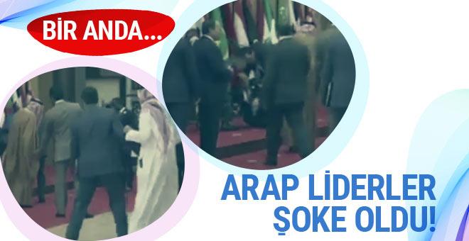 Lübnan Cumhurbaşkanı yere kapaklandı!