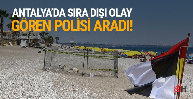 Sahilin ortasında önce tel örgü ardından şerit ve polis koruması!