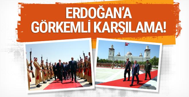 Erdoğan'a Ürdün'de görkemli karşılama!
