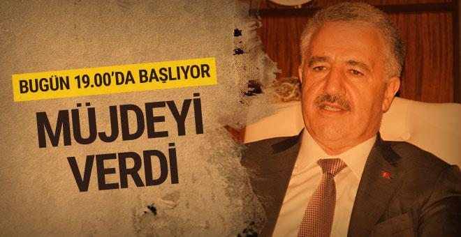 Bakan Arslan İstanbullulara müjdeyi verdi bugün 19.00'da başlıyor