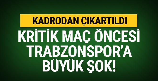 Kritik maç öncesi Trabzonspor'a büyük şok!