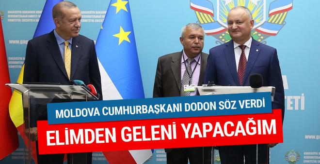 Moldova cumhurbaşkanı Erdoğan'ın yanında söz verdi