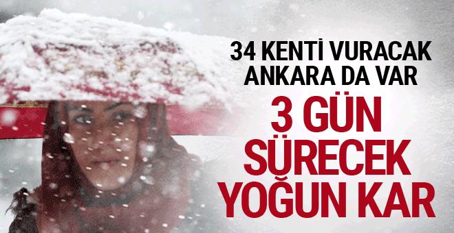 3 gün sürecek kar yağışı alarmı Ankara ile 31 ili vuracak okulları tatil ettirecek