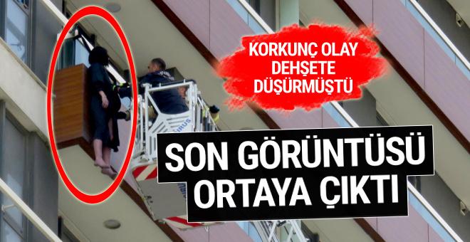 Balkon korkuluklarına asılmıştı! Son görüntüsü ortaya çıktı