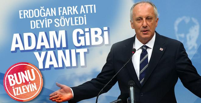 Muharrem İnce'den adam gibi yanıt! Erdoğan'ın attığı fark için söyledi..