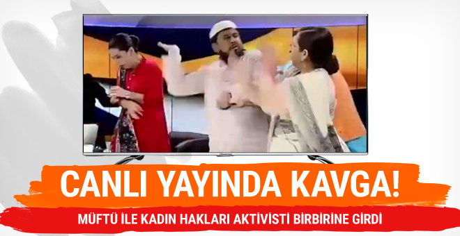 Canlı yayında şoke eden kavga! Müftü ile aktivist birbirine girdi