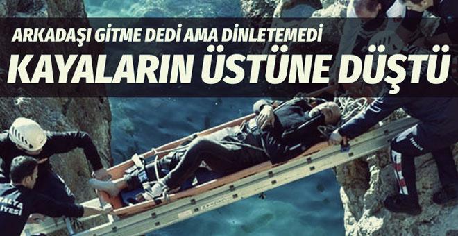 Antalya'da balık tutan adam 6 metreden kayalıklara düştü