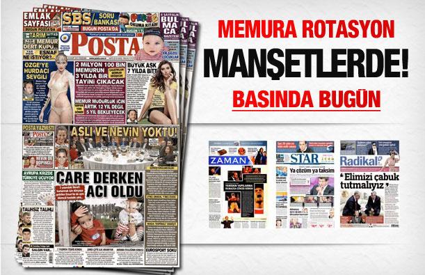 28 Mart 2013 tarihli gazete manşetleri