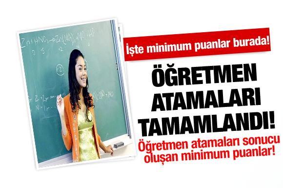 2013-Öğretmen ataması sonucu oluşan minimum puanlar